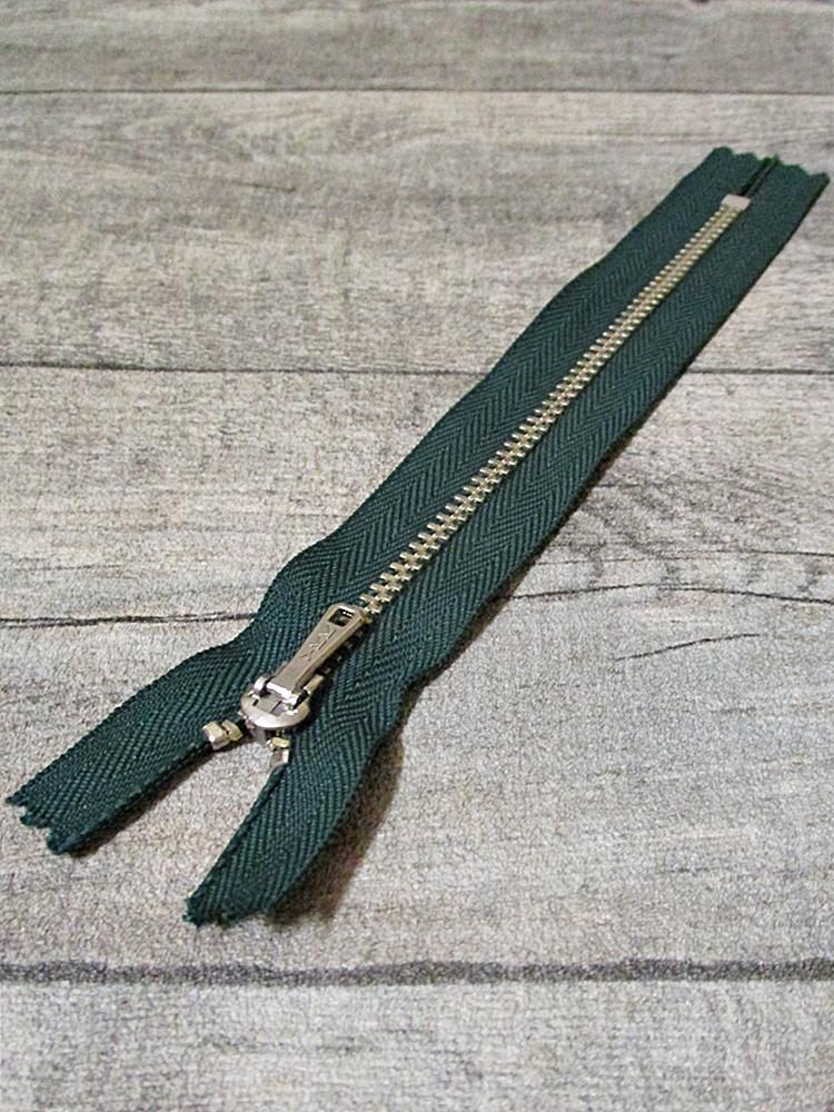 Reißverschluss dunkelgrün altsilber 16 cm lang 2,7 cm breit YKK - MONDSPINNE