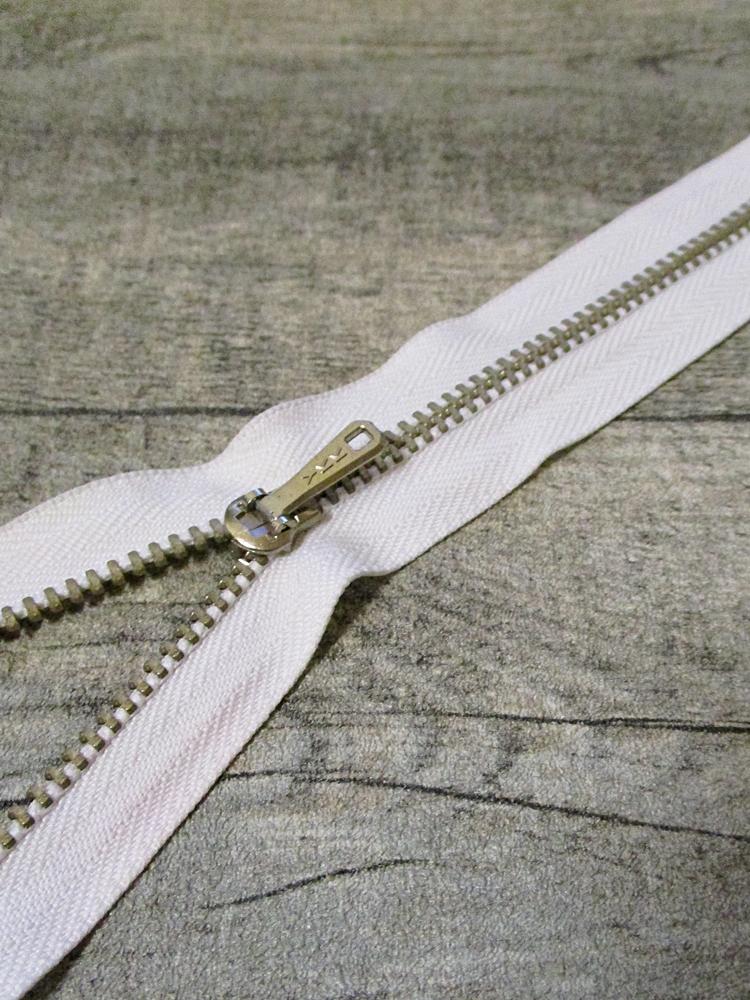 Reißverschluss weiß altsilber 16 cm lang 2,7 cm breit YKK - MONDSPINNE
