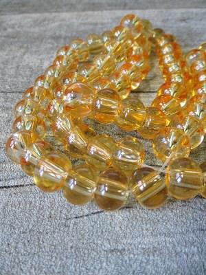 Glasperlen Glaskugeln Großlochperlen honig rund 12x9 mm Lochgröße 3,5 mm - MONDSPINNE