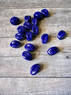 Porzellanperlen Großlochperlen oval ellipsenförmig dunkelblau 29x24 mm Lochgröße 3,5 mm - MONDSPINNE