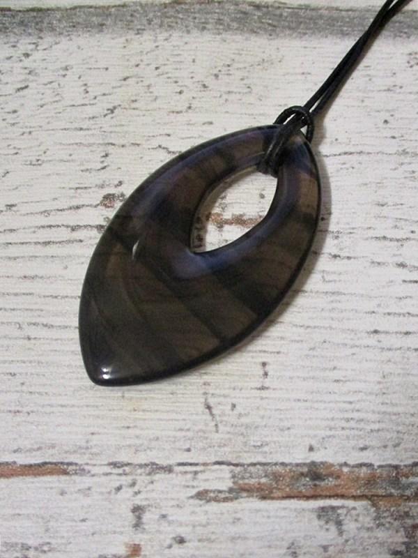 Lamellenobsidian 70x40x6 mm schwarz braun gestreift - MONDSPINNE