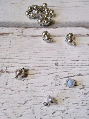Magnetschließe Magnetverschluss Metall Messing silberfarben 14x8 mm mit Biegeringen - MONDSPINNE