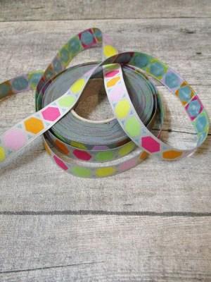 Webband Zierband GEOMETRIC farbenmix 2015 grau bunt 15 mm Polyester - MONDSPINNE