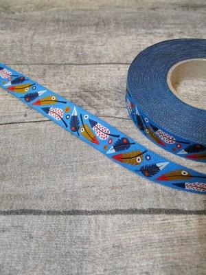 Webband Zierband PLUMA blue Lila-Lotta Design 2013 blau rot 15 mm Polyester - MONDSPINNE