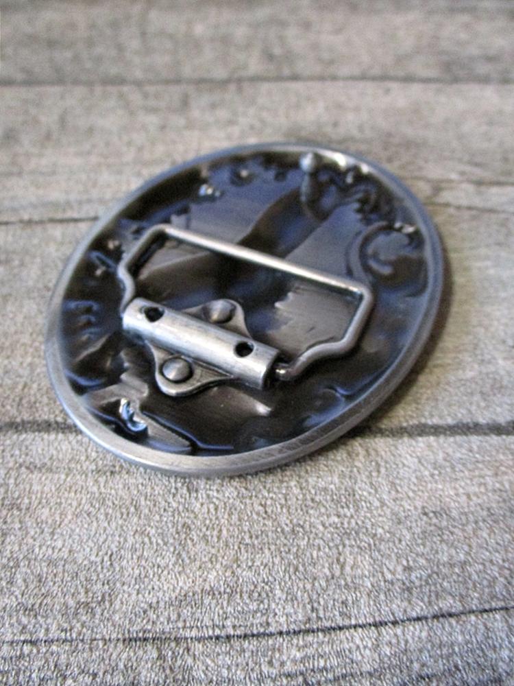 Gürtelschnalle Metallschließe Buckle silber schwarz Metall Bärentatze oval - MONDSPINNE