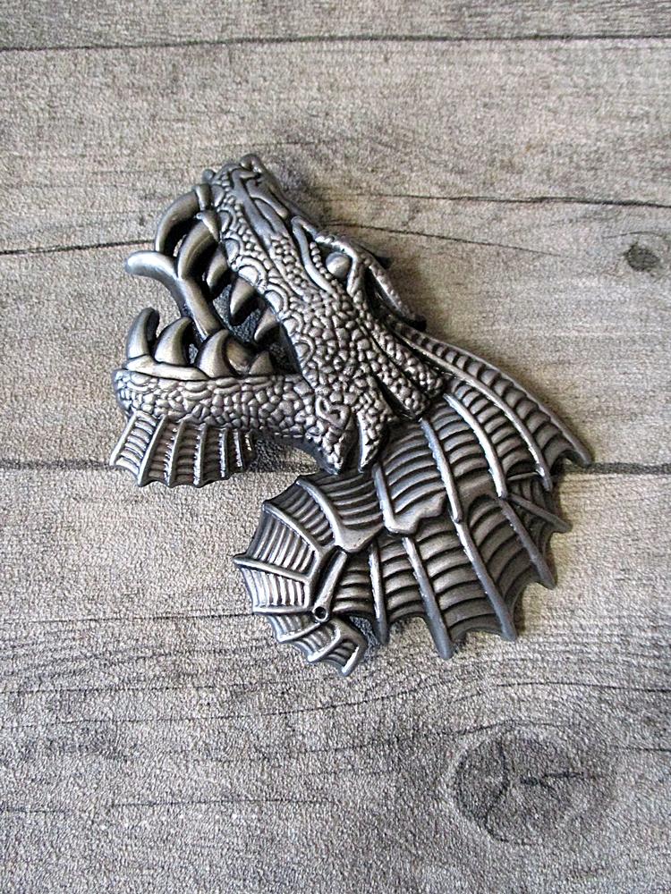 Gürtelschnalle Metallschließe Buckle silber schwarz Metall länglich Drache Dragon - MONDSPINNE