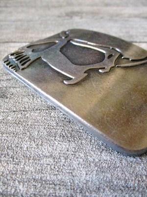 Gürtelschnalle Metallschließe Buckle silber schwarz rechteckig Totenschädel Skull - MONDSPINNE