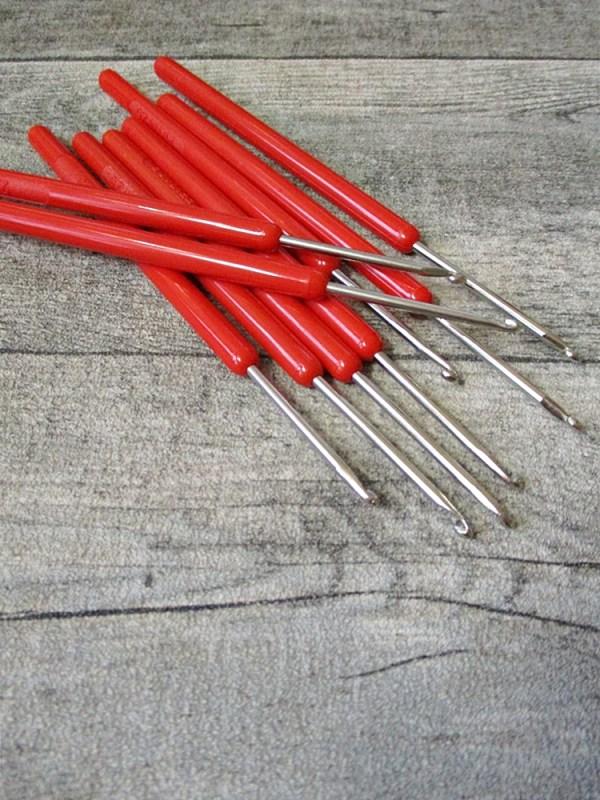 Häkelnadel Prym silber rot Stärke 2,5 140 mm - MONDSPINNE