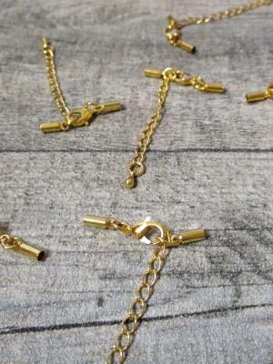 Karabiner mit Endkappen und Kettchen Metall goldfarben für Schnur bis 2 mm - MONDSPINNE