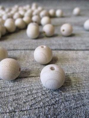 Kugeln Perlen Holzkugeln Holzperlen Rohholzkugeln 12 mm Lochgröße 3,5 mm natur unlackiert - MONDSPINNE