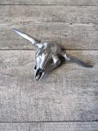 Gürtelschnalle Metallschließe Buckle silber Metall Schädel Skull Stier Bull - MONDSPINNE