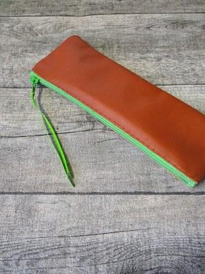 Federmäppchen Stiftemäppchen braun-hellgrün Leder - MONDSPINNE