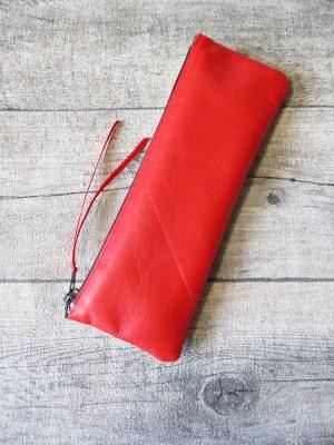 Federmäppchen Stiftemäppchen rot-braun Leder MONDSPINNE