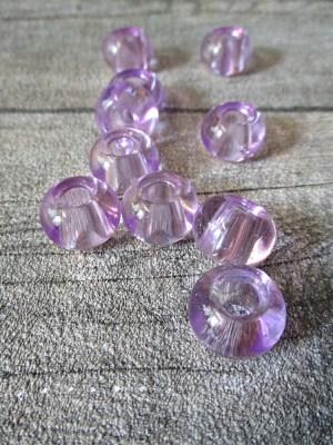 Glasperlen Glaskugeln Großlochperlen hellviolett 14x10 mm Lochgröße 5,5 mm - MONDSPINNE