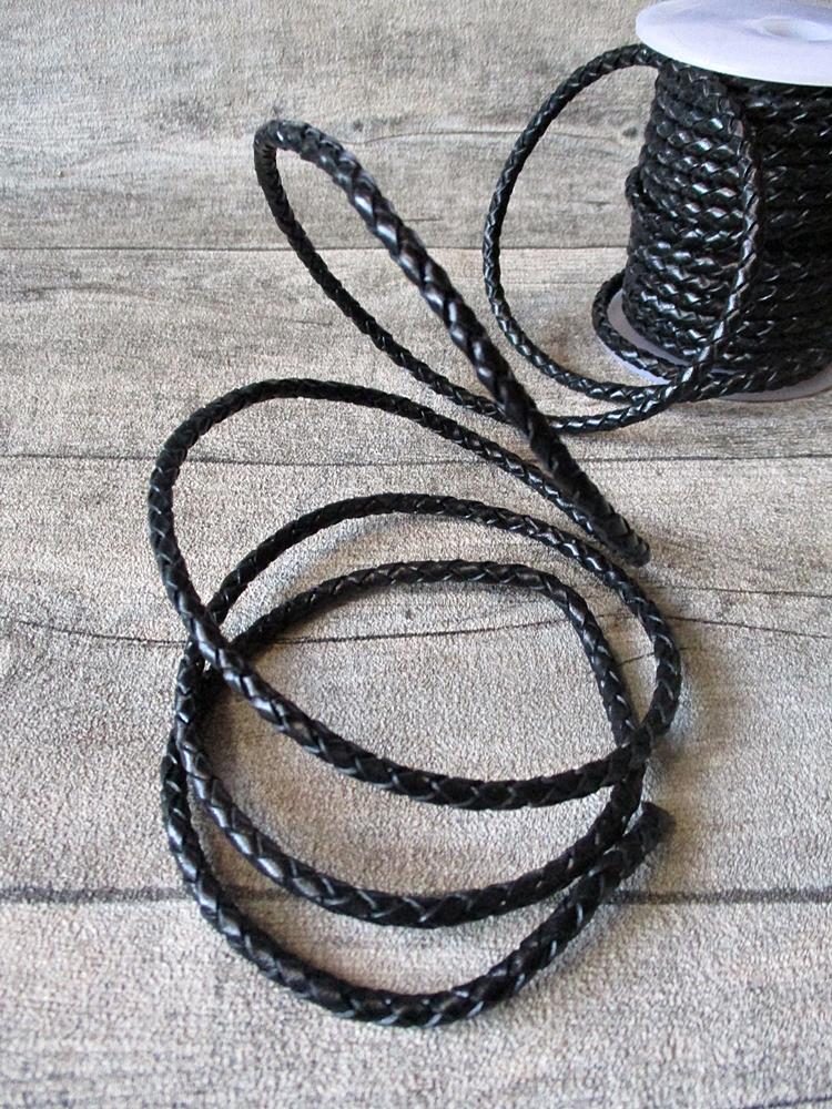 Lederband Lederriemen Rollenware rund schwarz geflochten 4 mm - MONDSPINNE