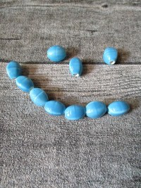 Porzellanperlen linsenförmig 12x9 mm türkis hellblau Großlochperlen Lochgröße 2,8 mm - MONDSPINNE