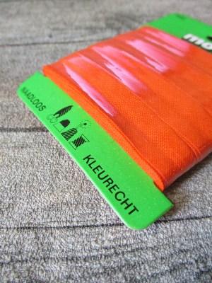 Biaisband Biasband Schrägband 12 mm 5 m nahtlos naadloos farbecht kleurecht orangerot - MONDSPINNE