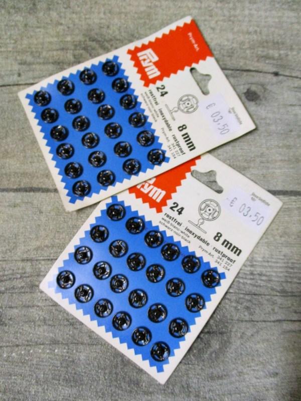 Druckknöpfe Metall schwarz zum Annähen rostfrei 24 Stück 8 mm Prym - MONDSPINNE