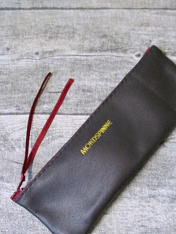 Federmäppchen Federtasche Ledertasche dunkelbraun bordeaux flach 17x6 cm - MONDSPINNE