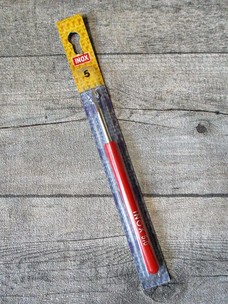 Häkelnadel INOX Prym Stärke 5 rot-silber Metall Kunststoff - MONDSPINNE