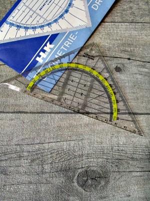 Geodreieck Lineal Kunststoff klar transparent gelb - MONDSPINNE