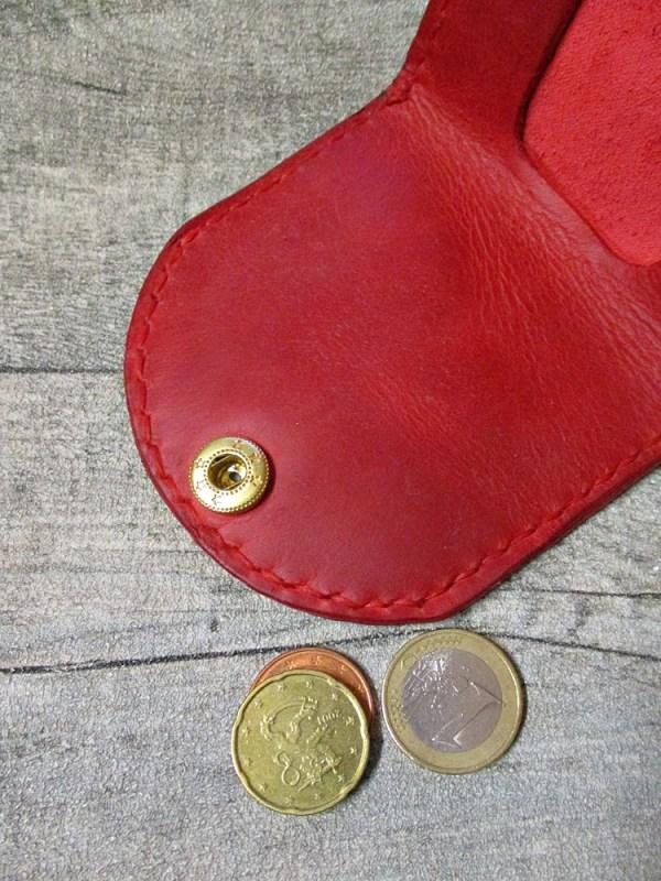Börse Portemonnaie Schütte rot goldfarben Rindsleder Metall - MONDSPINNE