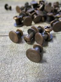 Gürtelschraube Schraubniete 10x7 mm kupfer copper Metall Kreuzschlitz - MONDSPINNE