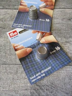 Fingerhut silber Metall abrutschsichere Kuppe 16 mm - MONDSPINNE