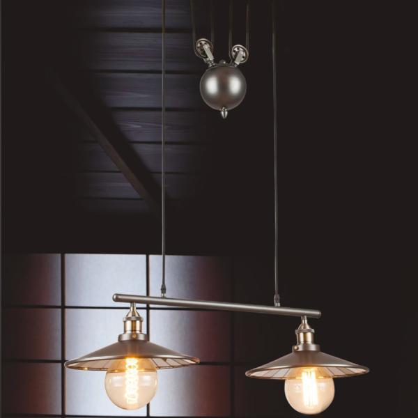 suspension industrielle 2 ampoules avec contrepoids en metal noir et abat jour en verre arkita