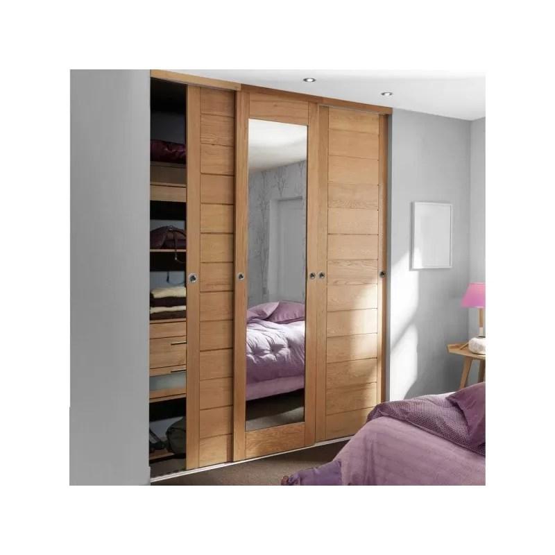porte de placard coulissante chene verni naturel plein et miroir largeur 225cm