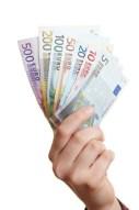 Hand-hält-Geldfächer