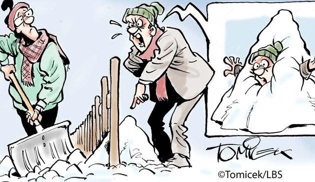 Comic Schnee schaufeln