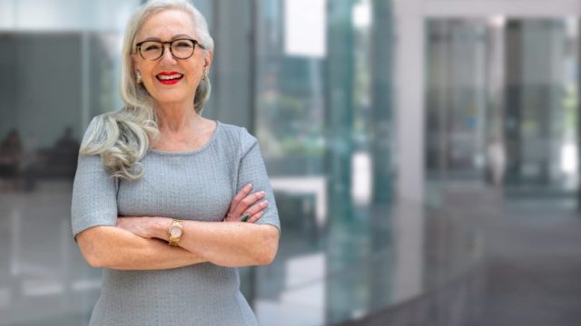 Real Estate Agent Older Woman Retired Red Lipstick