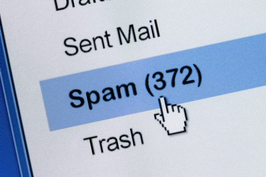 Mouse clicks through spam folder