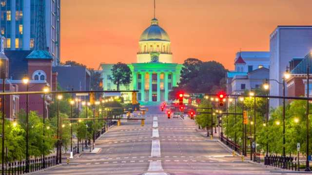 Alabama Montgomery State Capitol At Dawn