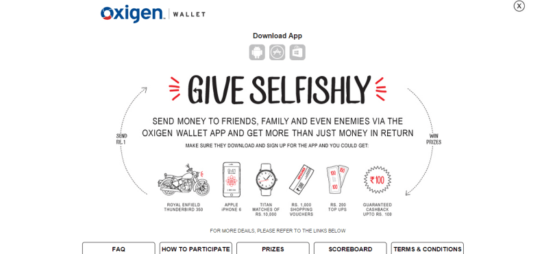 Give selfishly Oxigen wallet