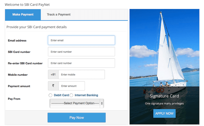 payment of sbi credit card bill online