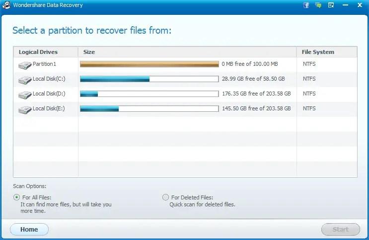 Wondershare Data Recovery Software Raw