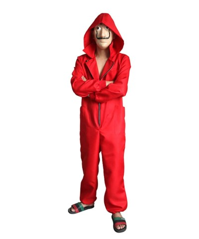 Money Heist Red Jumpsuit Costume For Kids Front