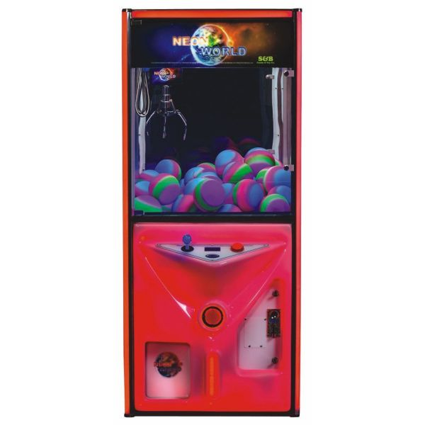 Neon World Color Changing Crane Machine Red | moneymachines.com