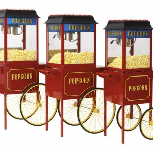 Red Paragon 1911 8 Ounce Popcorn Machine and Antique Cart Combo | moneymachines.com