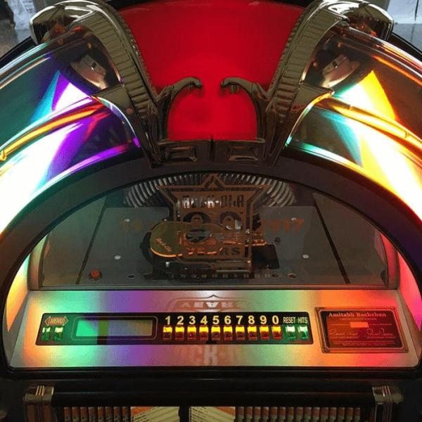 Rock-Ola 90th Anniversary CD Bubbler Jukebox CD Compartment | moneymachines.com