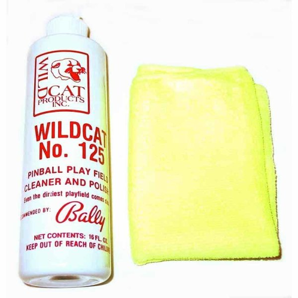 Wildcat 125 Pinball Cleaner Polish Micro Fiber Cloth Combo   moneymachines.com