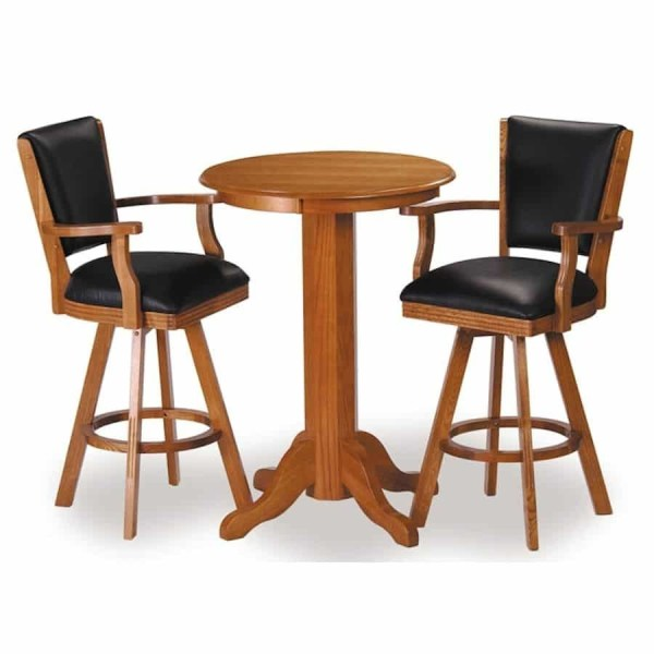 """C.L. Bailey 30"""" Pub Table and Backed Bar Stool Set In Classic Oak Finish 