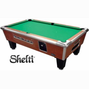 Gold Standard Games Coin Operated Pool Table - Cherry Finish | moneymachines.com