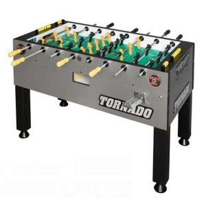 Tornado Platinum Tour Edition Coin Operated Foosball Table - Silver 1 Man Goalie | moneymachines.com