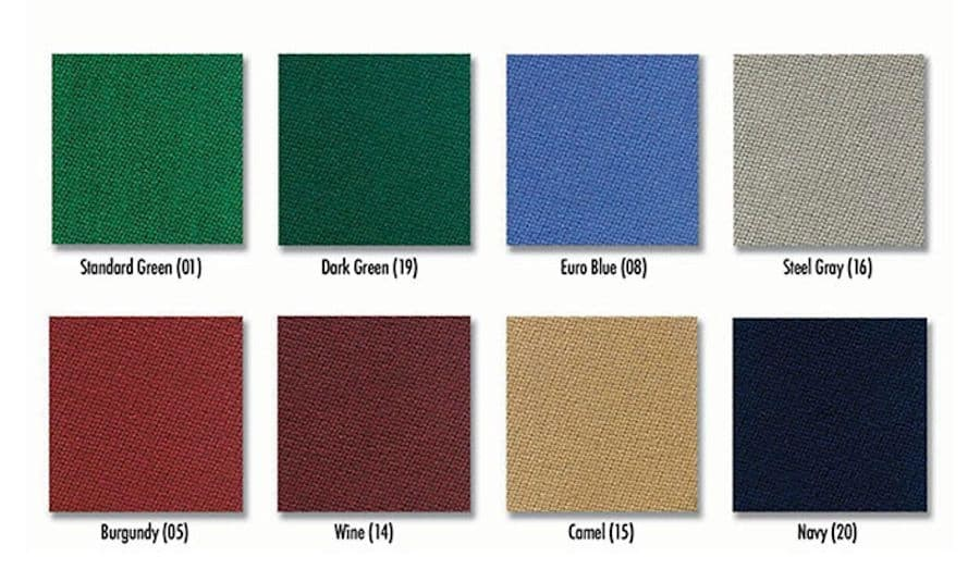 Velocity Pro Billiard Cloth Color Chart | moneymachines.com