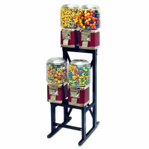 4 Unit Classic Gumball Vending Machines On Rack Stand | moneymachines.com