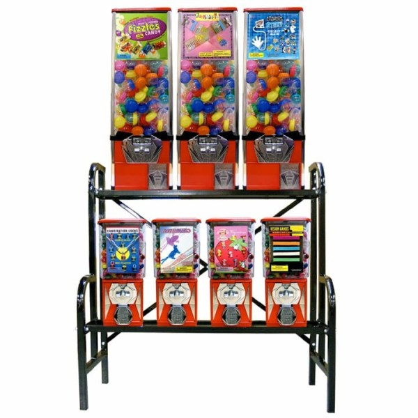 8 Unit Bulk Vending Machine Steel Rack Step Stand | moneymachines.com