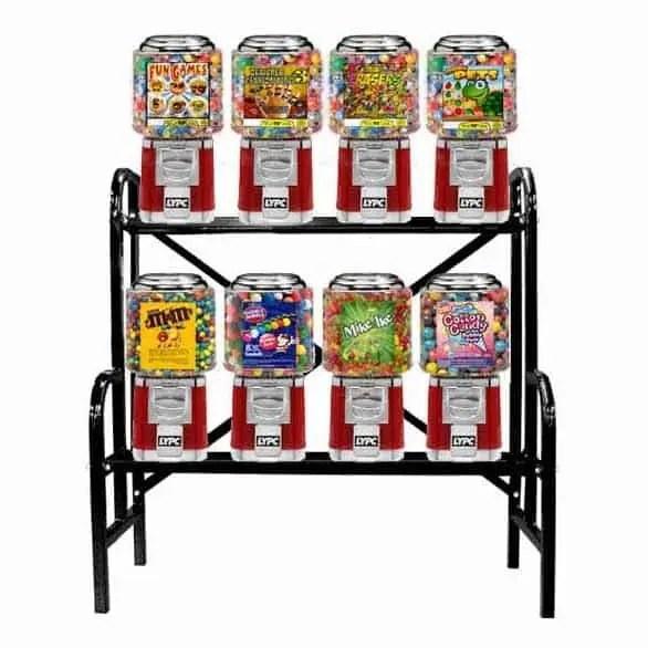 8 Unit Classic Gumball Vending Machines On Rack Stand   moneymachines.com